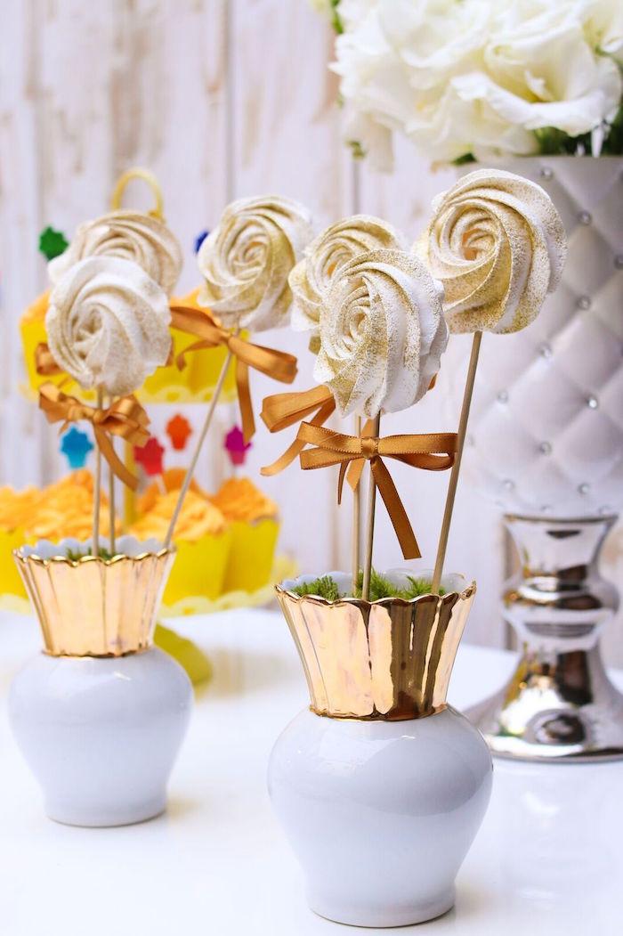 Meringue cookie pops from a Pretty Pastel Rainbow Party on Kara's Party Ideas | KarasPartyIdeas.com (21)