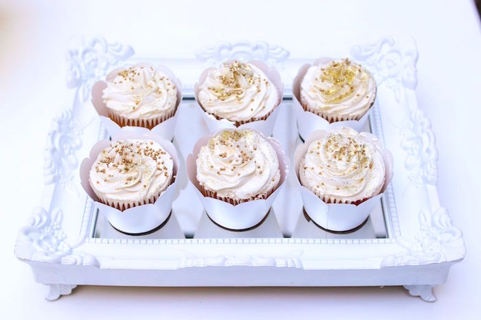 Gold sprinkled cupcakes from a Cupcakes from a Pretty Pastel Rainbow Party on Kara's Party Ideas | KarasPartyIdeas.com (20)