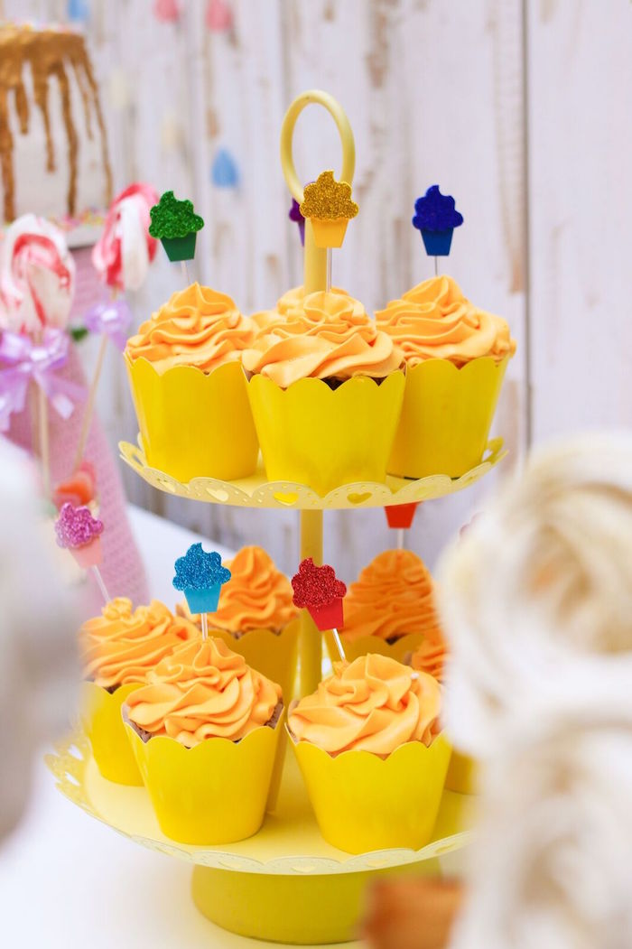 Cupcakes from a Pretty Pastel Rainbow Party on Kara's Party Ideas | KarasPartyIdeas.com (18)