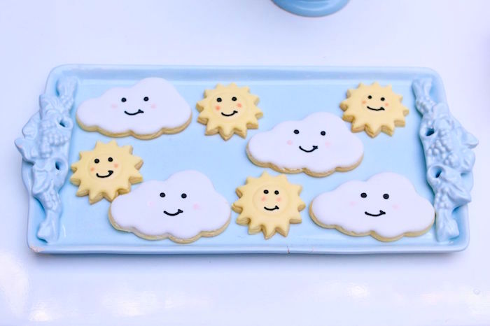 Sun burst and cloud cookies from a Pretty Pastel Rainbow Party on Kara's Party Ideas | KarasPartyIdeas.com (35)