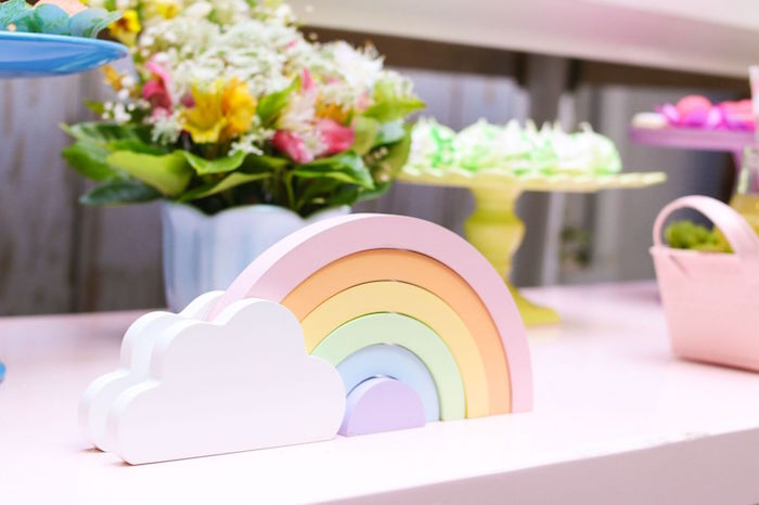 Rainbow decoration from a Pretty Pastel Rainbow Party on Kara's Party Ideas | KarasPartyIdeas.com (15)