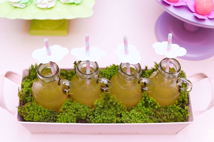 Drink bottles with paper cloud toppers from a Pretty Pastel Rainbow Party on Kara's Party Ideas | KarasPartyIdeas.com (14)