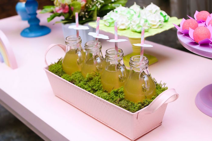 Drink bottles with paper cloud toppers from a Pretty Pastel Rainbow Party on Kara's Party Ideas | KarasPartyIdeas.com (13)