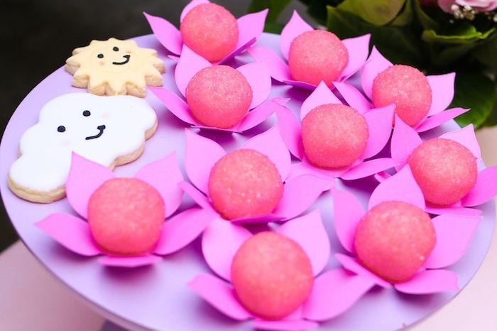 Flower truffles from a Pretty Pastel Rainbow Party on Kara's Party Ideas | KarasPartyIdeas.com (12)
