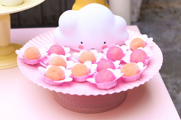 Cloud cake balls + truffles from a Pretty Pastel Rainbow Party on Kara's Party Ideas | KarasPartyIdeas.com (11)