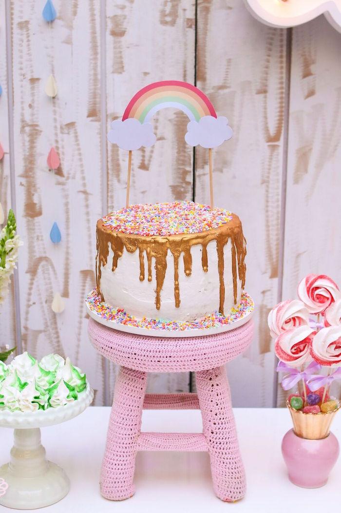 Rainbow cake from a Pretty Pastel Rainbow Party on Kara's Party Ideas | KarasPartyIdeas.com (9)