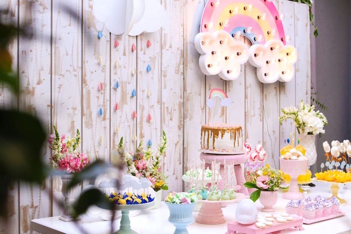 Rainbow dessert tablescape from a Pretty Pastel Rainbow Party on Kara's Party Ideas | KarasPartyIdeas.com (7)