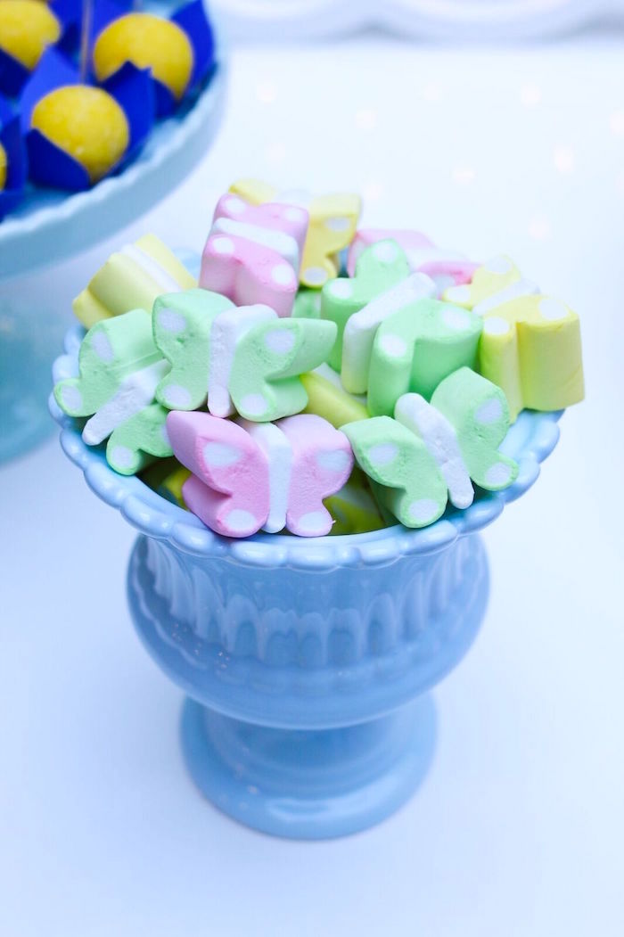Marshmallow butterflies from a Pretty Pastel Rainbow Party on Kara's Party Ideas | KarasPartyIdeas.com (34)