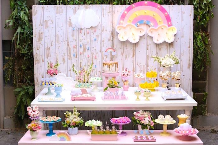 Full dessert spread from a Pretty Pastel Rainbow Party on Kara's Party Ideas | KarasPartyIdeas.com (6)