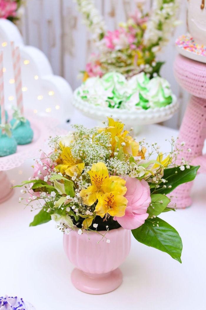 Flowers from a Pretty Pastel Rainbow Party on Kara's Party Ideas | KarasPartyIdeas.com (29)