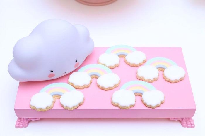 Rainbow cookies from a Pretty Pastel Rainbow Party on Kara's Party Ideas | KarasPartyIdeas.com (28)
