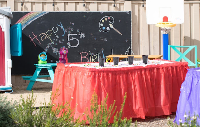 Art + paint table from a Rainbow Paint Party on Kara's Party Ideas KarasPartyIdeas.com (28)