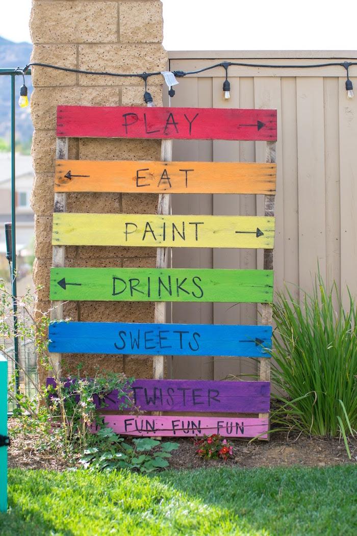 Rainbow pallet sign from a Rainbow Paint Party on Kara's Party Ideas KarasPartyIdeas.com (27)