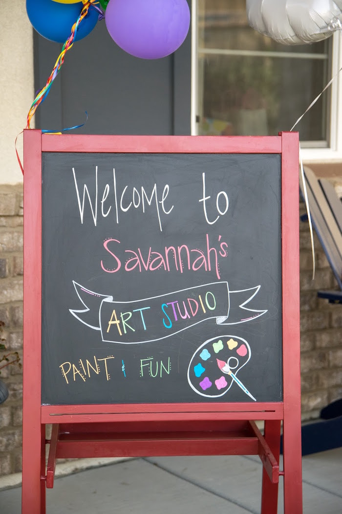 Chalkboard welcome sign from a Rainbow Paint Party on Kara's Party Ideas KarasPartyIdeas.com (40)