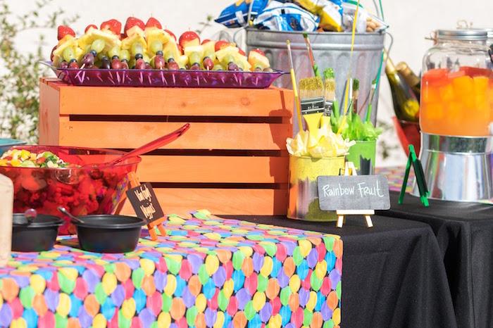 Food table from a Rainbow Paint Party on Kara's Party Ideas KarasPartyIdeas.com (20)