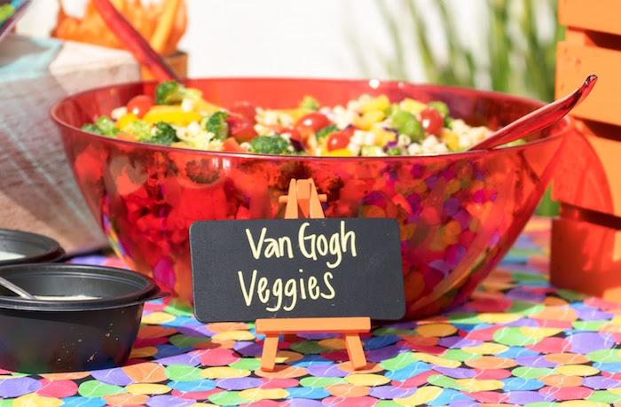 Van Gogh veggie salad from a Rainbow Paint Party on Kara's Party Ideas KarasPartyIdeas.com (19)
