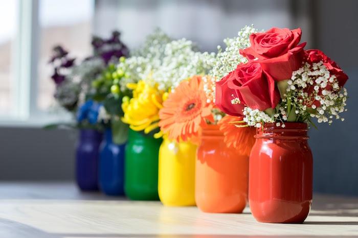 Rainbow flower centerpieces from a Rainbow Paint Party on Kara's Party Ideas KarasPartyIdeas.com (15)