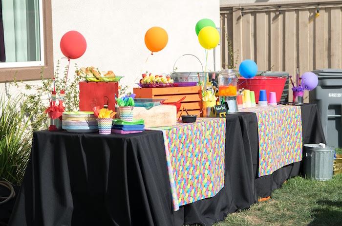 Rainbow food/party table from a Rainbow Paint Party on Kara's Party Ideas KarasPartyIdeas.com (12)