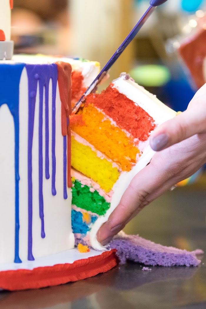 Layered rainbow cake from a Rainbow Paint Party on Kara's Party Ideas KarasPartyIdeas.com (7)