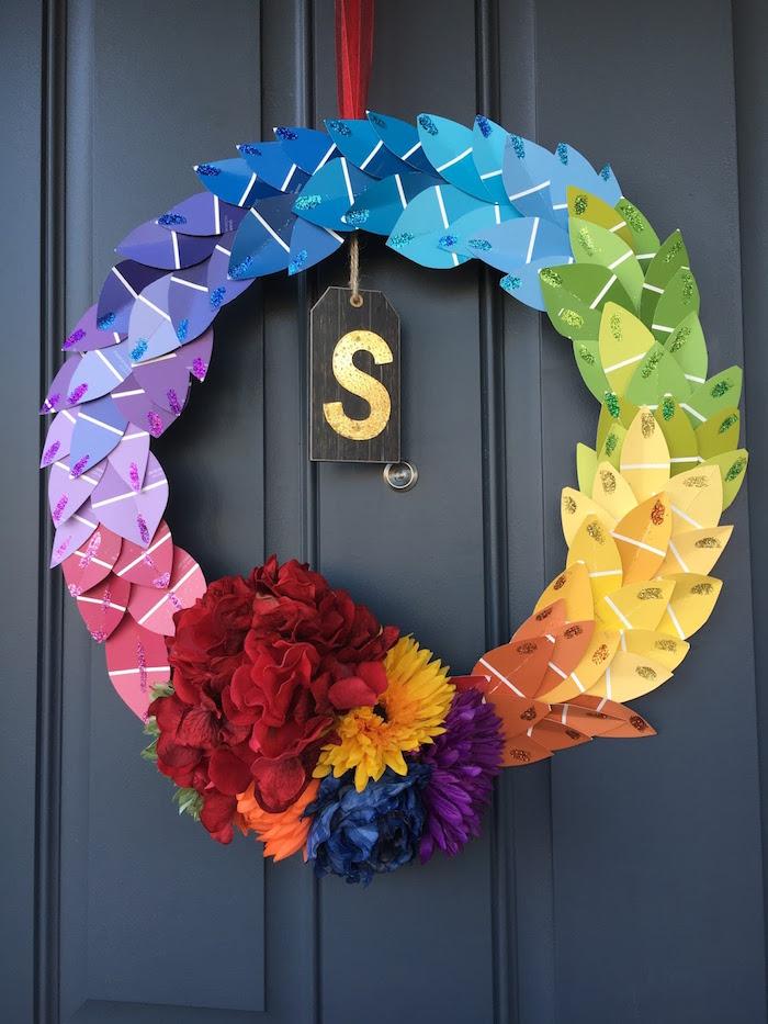 Pantone rainbow wreath from a Rainbow Paint Party on Kara's Party Ideas KarasPartyIdeas.com (6)