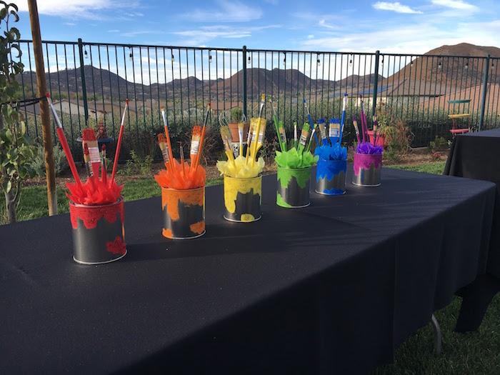Paint bucket centerpieces from a Rainbow Paint Party on Kara's Party Ideas KarasPartyIdeas.com (5)