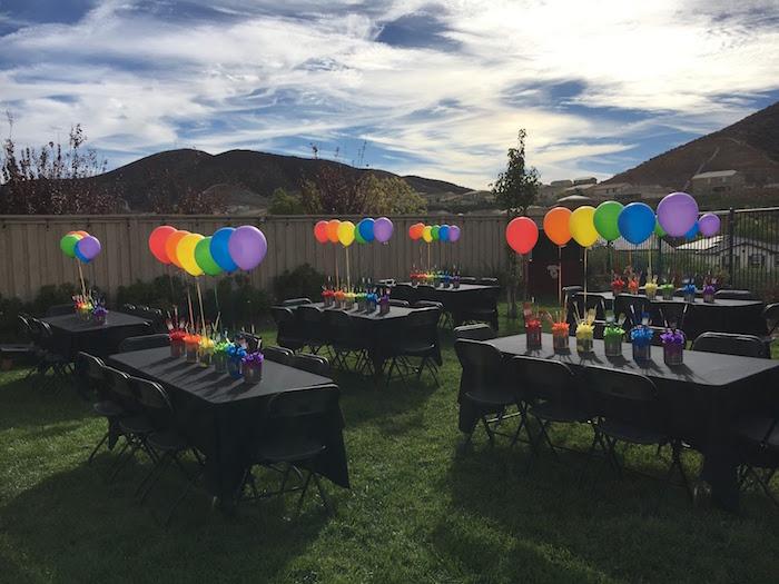 Rainbow guest tables from a Rainbow Paint Party on Kara's Party Ideas KarasPartyIdeas.com (4)