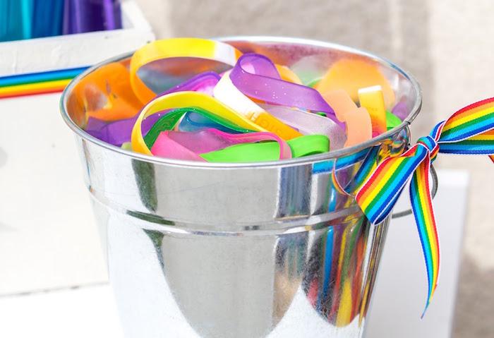 Rainbow bracelet favors from a Rainbow Paint Party on Kara's Party Ideas KarasPartyIdeas.com (33)