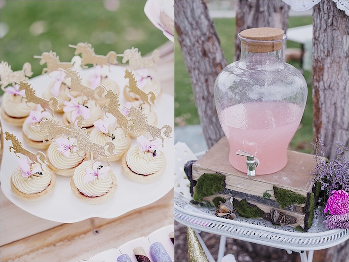 Unicorn cupcakes and beverage dispenser atop a suitcase from a Rustic Fairies & Unicorns Birthday Party on Kara's Party Ideas | KarasPartyIdeas.com (18)