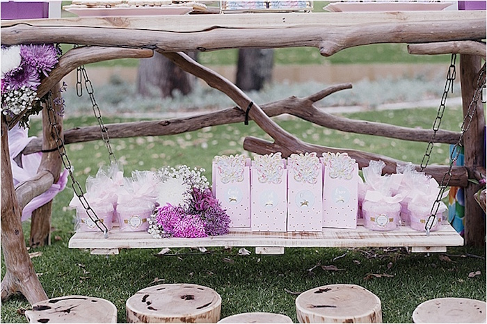 Suspended favors from a Rustic Fairies & Unicorns Birthday Party on Kara's Party Ideas | KarasPartyIdeas.com (14)