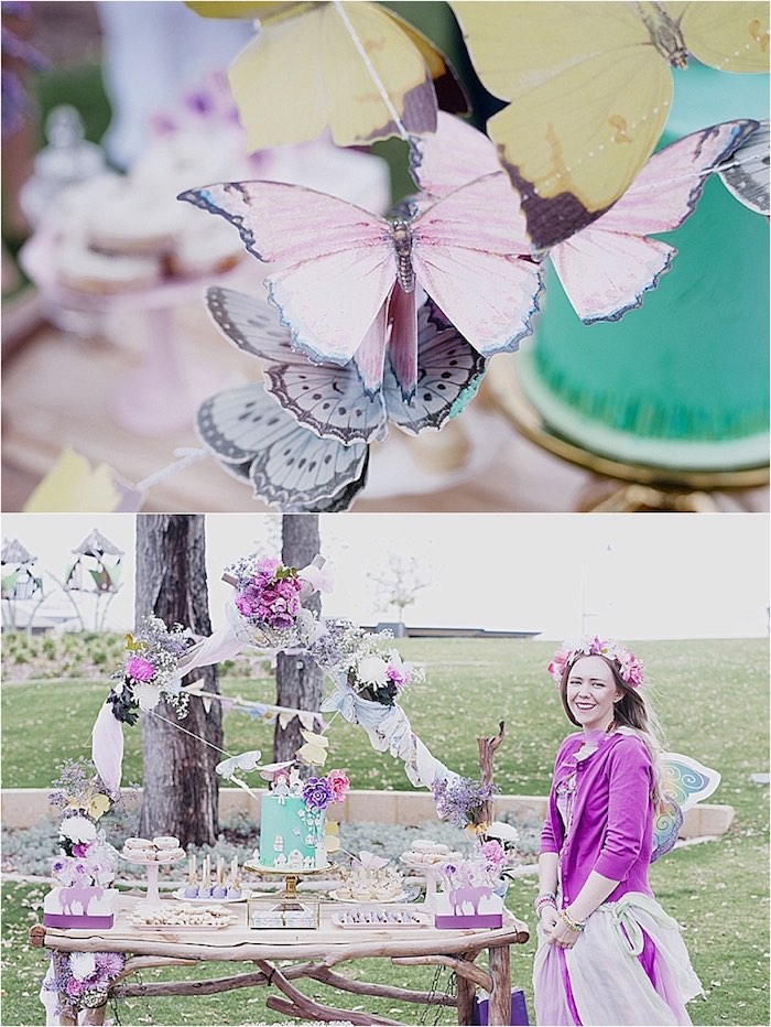 Dessert table with butterfly bunting from a Rustic Fairies & Unicorns Birthday Party on Kara's Party Ideas | KarasPartyIdeas.com (10)