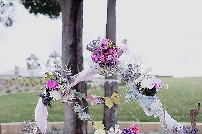 Rustic floral arch from a Rustic Fairies & Unicorns Birthday Party on Kara's Party Ideas | KarasPartyIdeas.com (9)