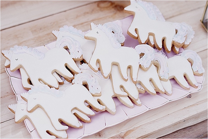 Unicorn cookies from a Rustic Fairies & Unicorns Birthday Party on Kara's Party Ideas | KarasPartyIdeas.com (5)