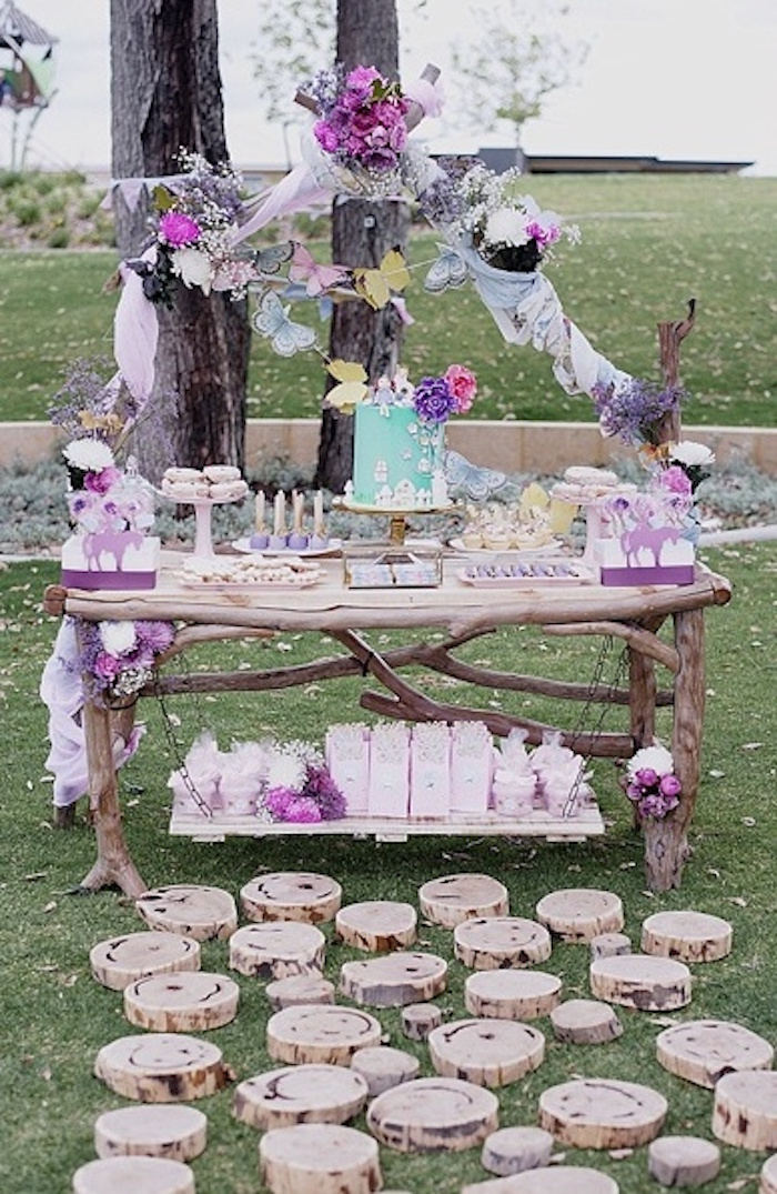 Dessert table from a Rustic Fairies & Unicorns Birthday Party on Kara's Party Ideas | KarasPartyIdeas.com (28)
