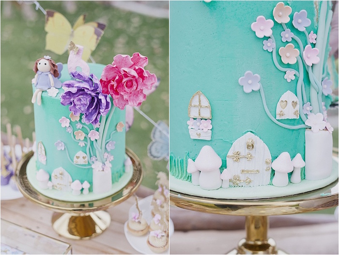 Fairy cake from a Rustic Fairies & Unicorns Birthday Party on Kara's Party Ideas | KarasPartyIdeas.com (25)