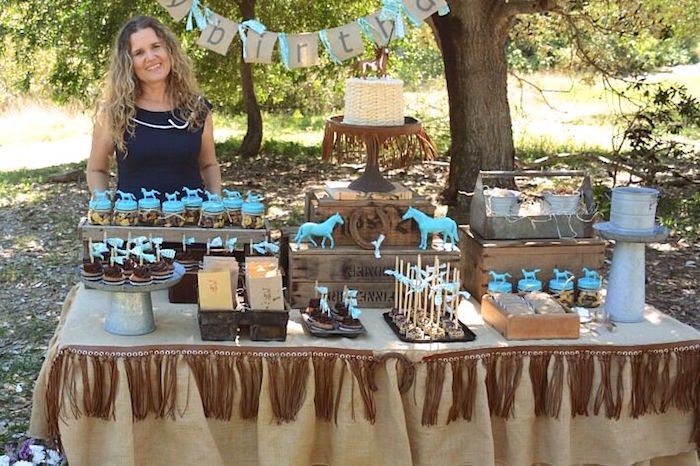 Sweet tablescape from a Rustic Horse Birthday Party on Kara's Party Ideas | KarasPartyIdeas.com (19)
