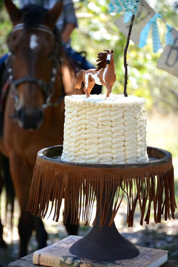 White ruffle cake from a Rustic Horse Birthday Party on Kara's Party Ideas | KarasPartyIdeas.com (14)