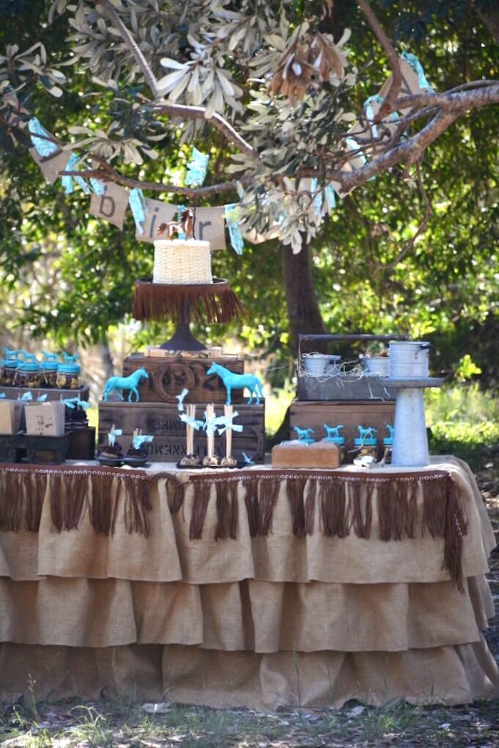 Full dessert table from a Rustic Horse Birthday Party on Kara's Party Ideas | KarasPartyIdeas.com (13)