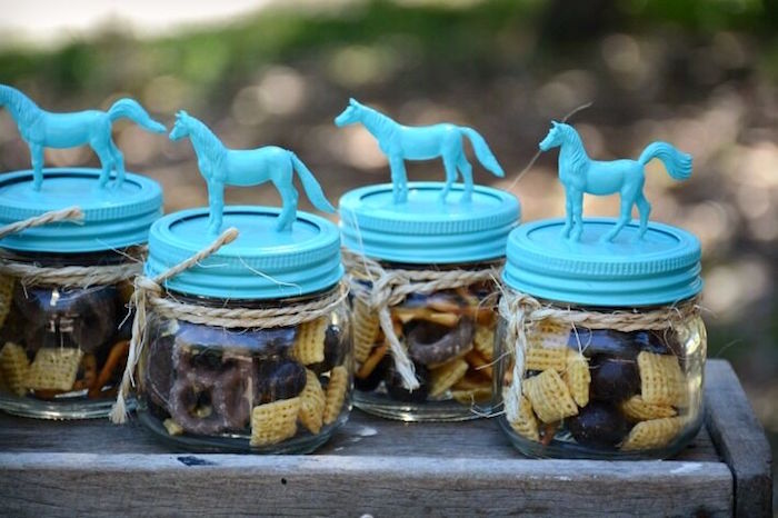 Horse trail mix favor jars from a Rustic Horse Birthday Party on Kara's Party Ideas | KarasPartyIdeas.com (27)