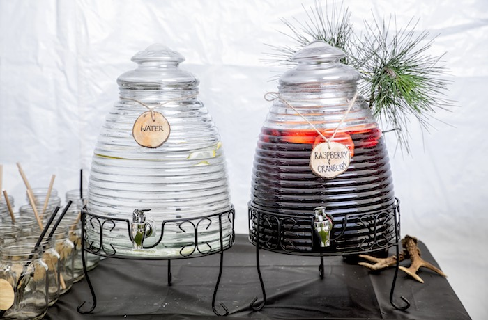 Beehive beverage dispensers from a Rustic Wilderness Birthday Party on Kara's Party Ideas | KarasPartyIdeas.com (12)