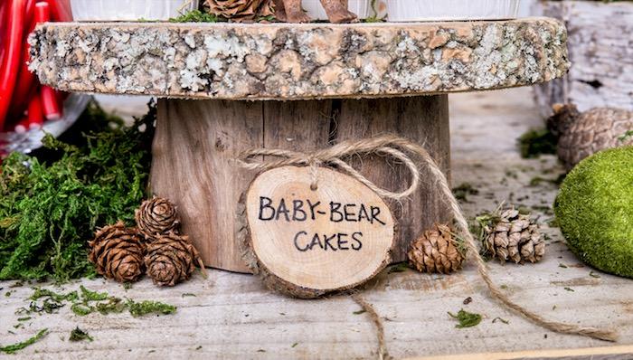 Tree stump dessert pedestal & label from a Rustic Wilderness Birthday Party on Kara's Party Ideas | KarasPartyIdeas.com (11)
