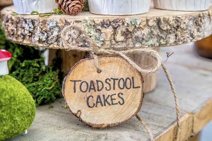 Tree stump dessert pedestal & label from a Rustic Wilderness Birthday Party on Kara's Party Ideas | KarasPartyIdeas.com (10)