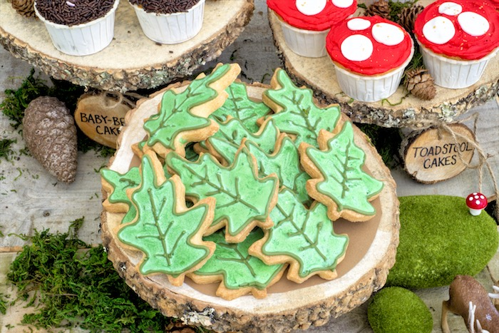 Leaf cookies from a Rustic Wilderness Birthday Party on Kara's Party Ideas | KarasPartyIdeas.com (21)