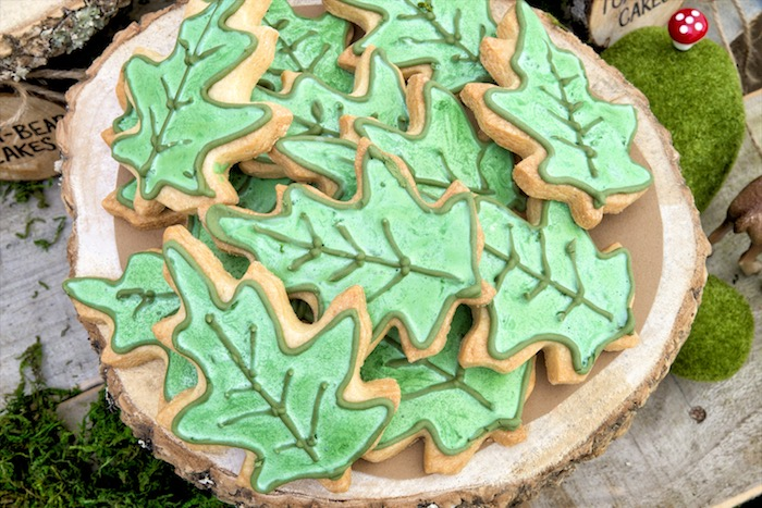 Leaf cookies from a Rustic Wilderness Birthday Party on Kara's Party Ideas | KarasPartyIdeas.com (15)