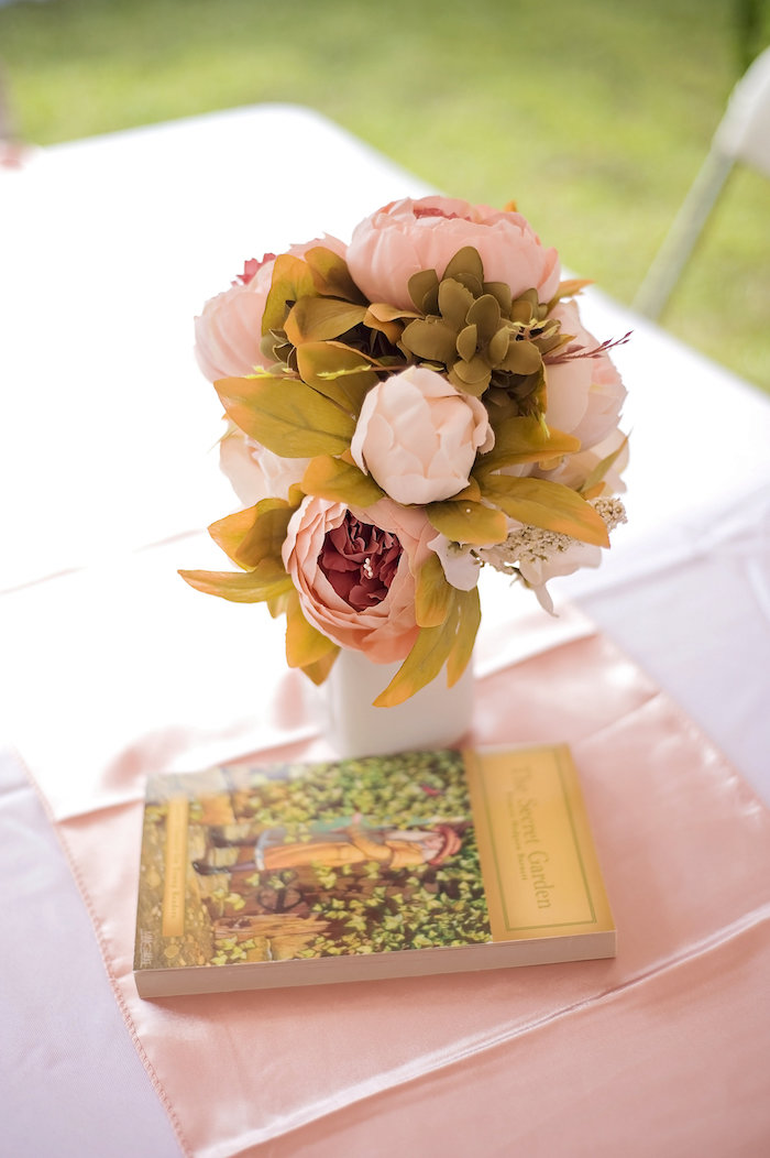 Floral centerpiece from a Secret Garden Birthday Party on Kara's Party Ideas | KarasPartyIdeas.com (6)