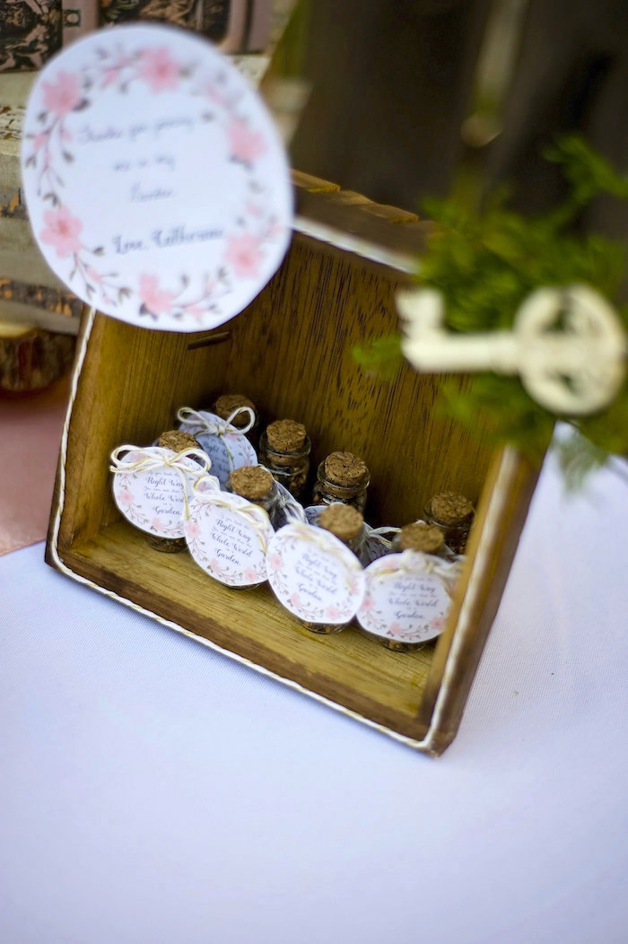 Mini cork favor jars from a Secret Garden Birthday Party on Kara's Party Ideas | KarasPartyIdeas.com (4)