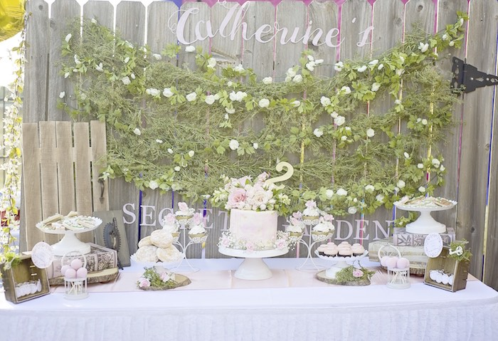 Secret Garden dessert table from a Secret Garden Birthday Party on Kara's Party Ideas | KarasPartyIdeas.com (18)