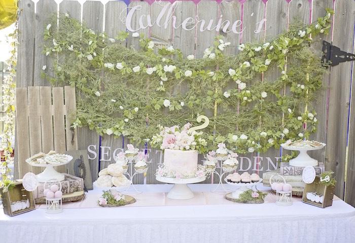 Elegant birthday table decorations - Secret Garden Dessert Table From A Secret Garden Birthday Party On