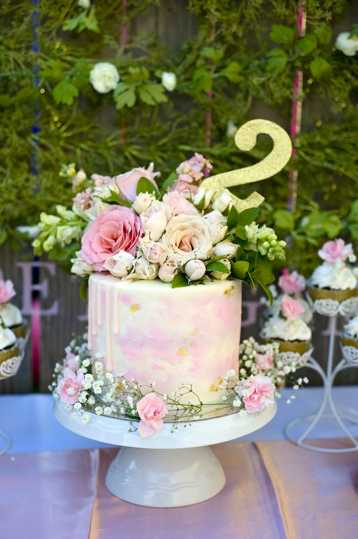 Cake topped with fresh flowers from a Secret Garden Birthday Party on Kara's Party Ideas | KarasPartyIdeas.com (13)