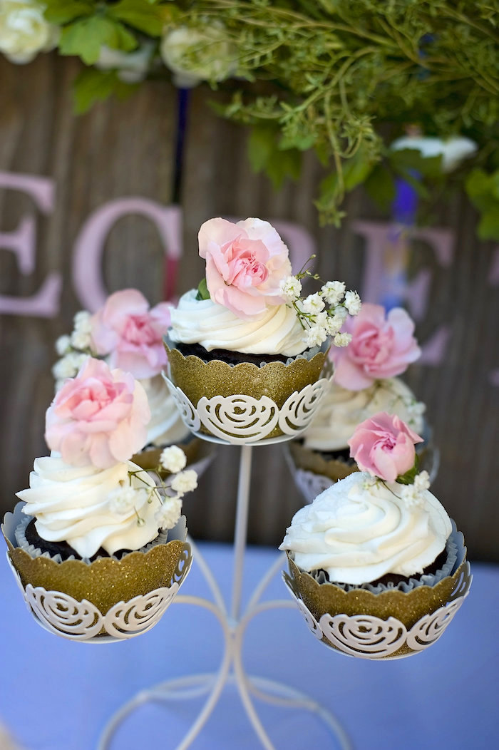 Secret Garden cupcakes from a Secret Garden Birthday Party on Kara's Party Ideas | KarasPartyIdeas.com (11)