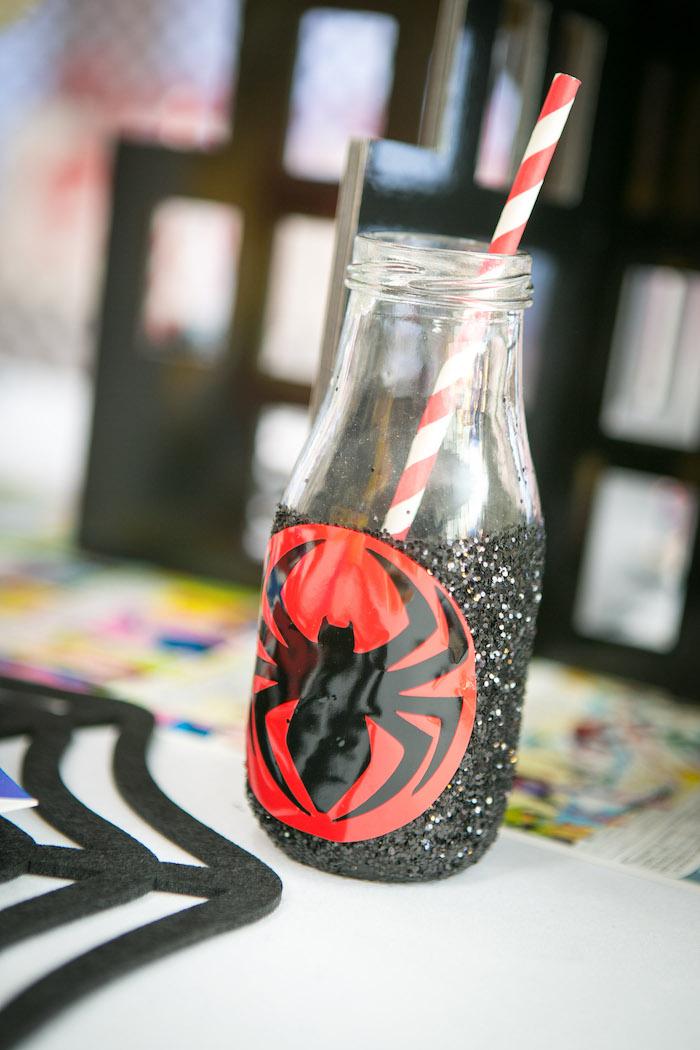 Spider Man drink bottle from a Spectacular Spider Man Birthday Party on Kara's Party Ideas | KarasPartyIdeas.com (30)